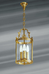 Classic lantern in glass and bronze three lights. Lucien Gau.