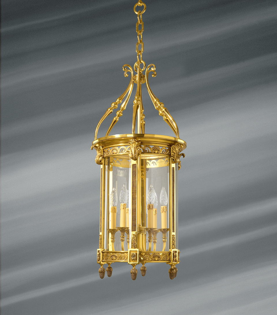 Classic style lantern in glass and solid bronze with six lights. Lucien Gau.