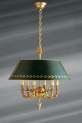 Directoire gold-tone bright gold and bronze green chandelier, solid bronze, six candles. Lucien Gau.