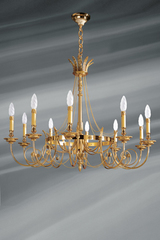 Directoire style bronze chandelier, ten lights. Lucien Gau.