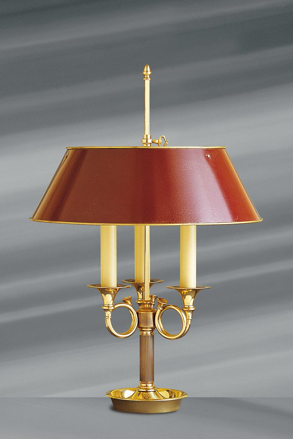 Cors Lighting: Directoire Style Lamp, Solid Gilt Bronze, Three Candles