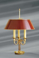 Directoire style lamp, solid gilt bronze, three candles. Lucien Gau.