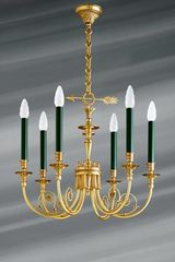 Directoire style solid bronze chandelier, tassel and arrow decor. Lucien Gau.