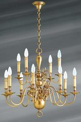 Dutch chandelier patinated brass twelve lights. Lucien Gau.