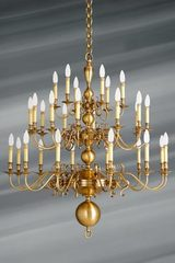 Dutch style brass chandelier thirty lights. Lucien Gau.