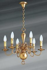 Dutch style chandelier in brass six lights. Lucien Gau.