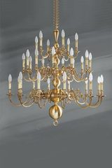 Dutch style chandelier thirty lights in brass. Lucien Gau.