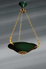 Empire style chandelier in the shape of a flared and lacquered basin. Lucien Gau.