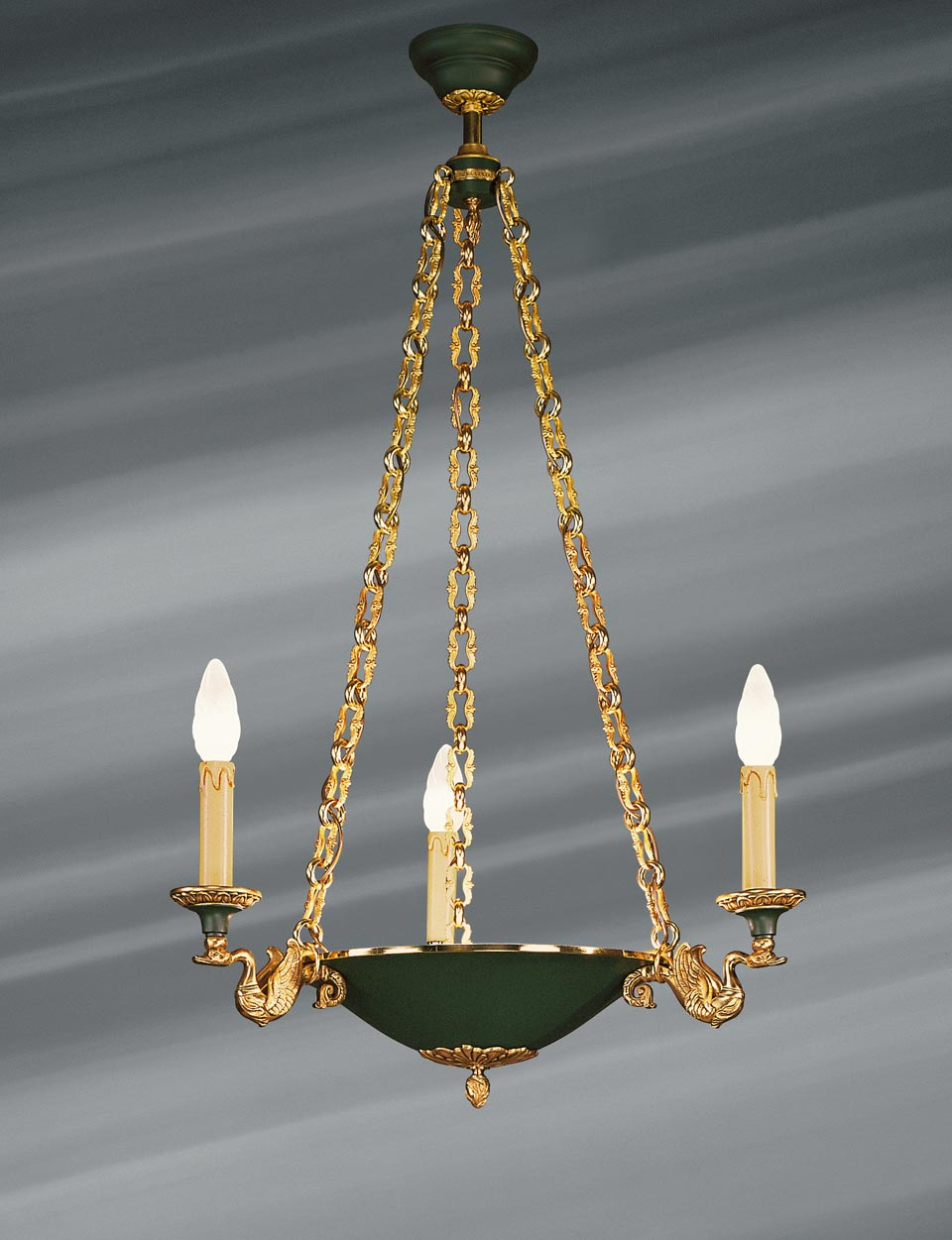 Empire Style Chandelier In The Shape Of A Flared And Lacquered Basin Three Lights Lucien Gau Massive Bronze Lightings Made In France Lustre En Bronze Massif Cygnes Triomphants Portant