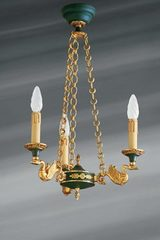 Empire style small Bronze chandelier, three lights. Lucien Gau.