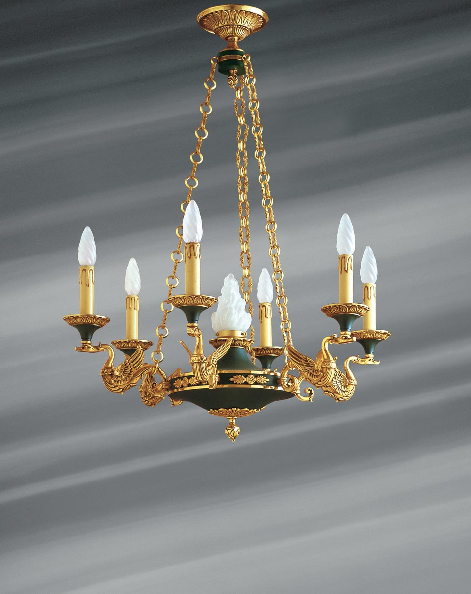 Empire style solid bronze chandelier in old gold and imperial green finish. Lucien Gau.
