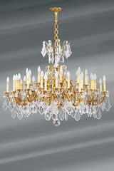 Gilt bronze and crystal chandelier Louis XV style 36 lights. Lucien Gau.