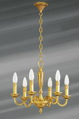 Gilt bronze chandelier, Louis XVI, six lights. Lucien Gau.