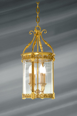 Glass and bronze lantern worked in classical style with four lights. Lucien Gau.
