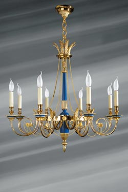 Gold and Royal Blue Directoire Style Chandelier, in Solid Bronze. Lucien Gau.