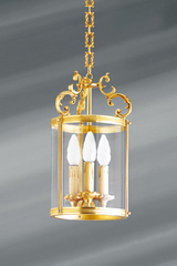 Golden lantern Louis XVI style solid bronze and glass. Lucien Gau.