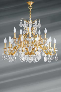 Golden Louis XV chandelier with bohemian crystal and 15 lights. Lucien Gau.