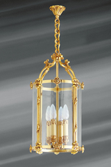Lantern Louis XVI style gilded bronze and glass. Lucien Gau.