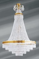 Large Louis XVI gilded chandelier with bohemian crystal and 14 lights. Lucien Gau.
