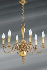 6-lights Dutch style chandelier in patined brass. Lucien Gau.