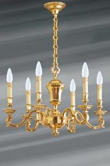 Louis XIV gilded solid bronze chandelier six lights. Lucien Gau.