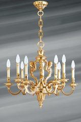 Louis XIV style chandelier in gilt bronze nine lights. Lucien Gau.