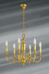 Louis XIV style chandelier, solid bronze with six lights. Lucien Gau.