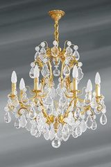 Louis XV bronze old gold and bohemian crystal chandelier eight lights. Lucien Gau.
