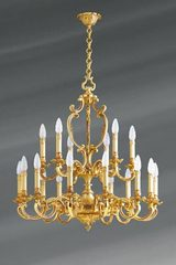 Louis XV chandelier eighteen lights patina old gold. Lucien Gau.