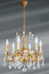 Louis XV chandelier with bohemian crystal and 6 lights. Lucien Gau.
