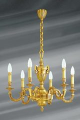 Chandelier, Louis XVI, gilded bronze, six lights. Lucien Gau.