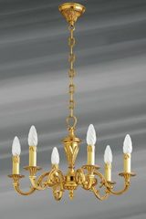 Louis XVI chandelier, gilded solid bronze, six lights. Lucien Gau.