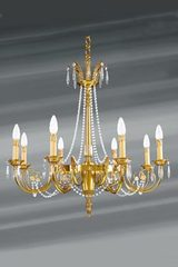 Louis XVI gilded chandelier with bohemian crystal beads eight lights. Lucien Gau.