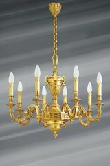 Louis XVI chandelier in gilded bronze, eight lights. Lucien Gau.