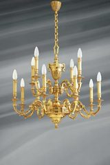 Louis XVI chandelier in gilded bronze, twelve lights. Lucien Gau.