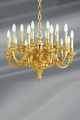 Louis XVI chandelier in gilded bronze, twenty lights. Lucien Gau.