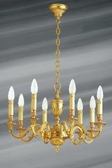 Louis XVI style chandelier, gilded bronze, eight lights, leaves and pearls. Lucien Gau.
