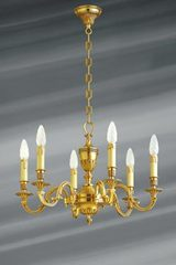 Louis XVI style chandelier in solid bronze, old gold finish 6 lights. Lucien Gau.