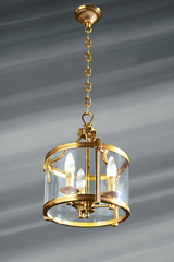 Original lantern, bronze and glass, three lights. Lucien Gau.