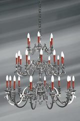 Pewter chandelier Louis XIII thirty lights. Lucien Gau.