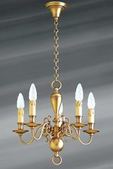 Small brass chandelier in Dutch style five lights. Lucien Gau.