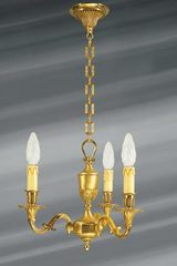 Small chandelier, Louis XVI, gilded bronze, three lights. Lucien Gau.