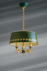 Small solid bronze chandelier Empire style, three lights and lacquered lampshade. Lucien Gau.