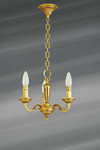 Small chandelier three lights Louis XVI style solid gilt bronze. Lucien Gau.