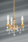 Small chandelier three lights Louis XVI style solid gilt bronze and drops. Lucien Gau.