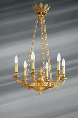 Stunning empire style chandelier, solid bronze, six lights. Lucien Gau.