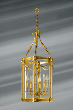 Very large classical lantern in bronze and glass six lights. Lucien Gau.