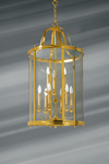Very large curved glass lantern and solid bronze nine lights. Lucien Gau.
