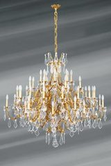 Very large gilded chandelier Louis XV in solid bronze and bohemian crystal. Lucien Gau.