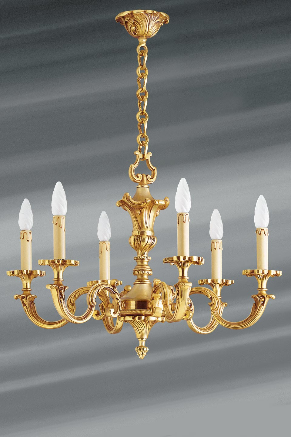Chandelier With Six Candlesticks In Gilt Bronze Louis Xv Lucien